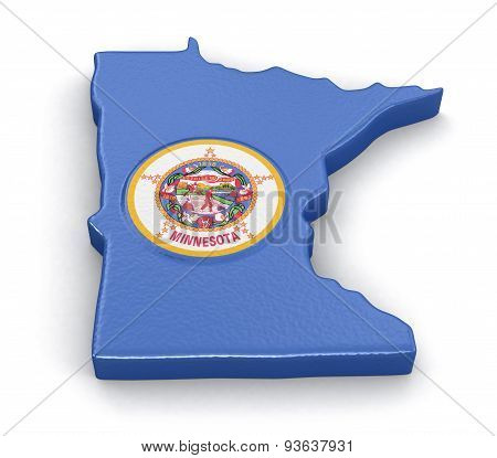Map of Minnesota state with flag