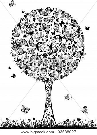 Abstract Tree With Butterflies.