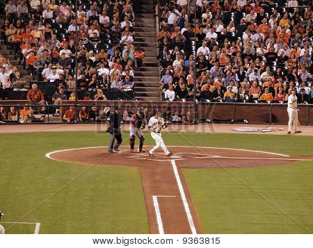 Giants Aubrey Huff Lets Go Of Bat After Fouling Off Pitch