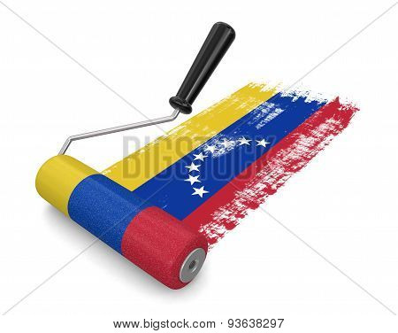Paint roller with Flag of Venezuela (clipping path included)