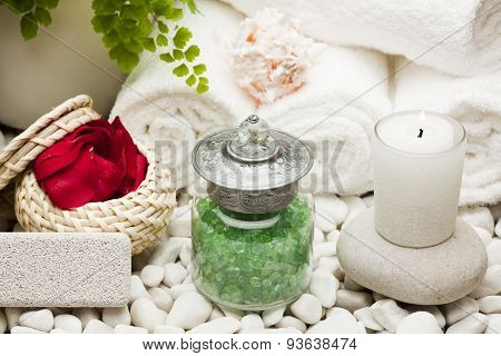 spa treatment products bath salts pumice stone rose petals