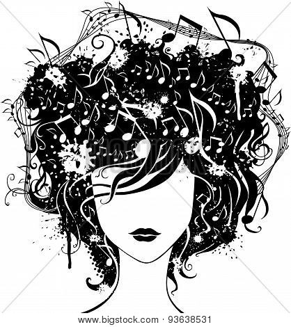 Abstract Woman With Music In Hair.