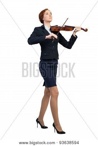 Businesswoman playing violin