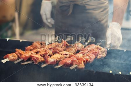 Grilled meat on barbeque