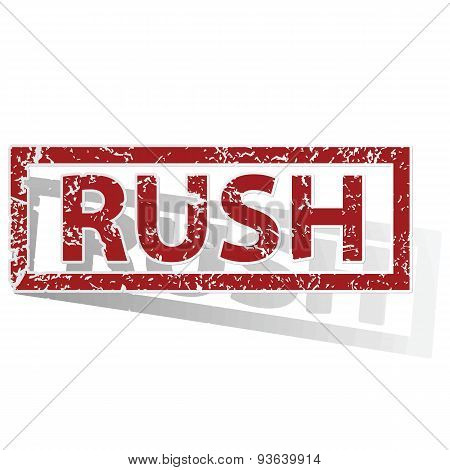 RUSH outlined stamp