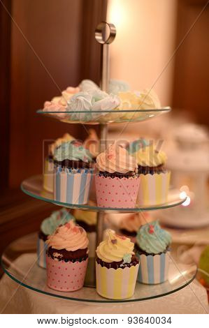 Delicious Cupcakes On Rounded Plate