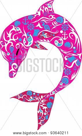 Dolphin, sea animal pink