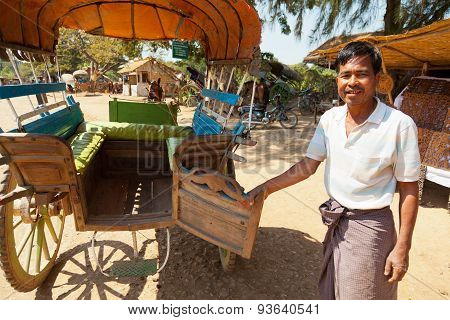 Ox Cart Taxi In Innwa, Myanmar