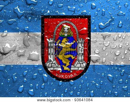 flag of Vukovar with rain drops