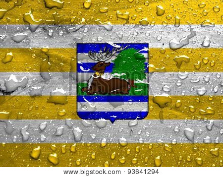 flag of Vukovar-Srijem County with rain drops