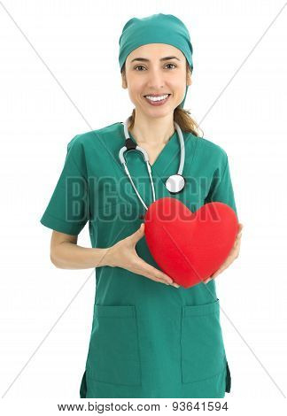 Woman Surgeon Showing A Heart