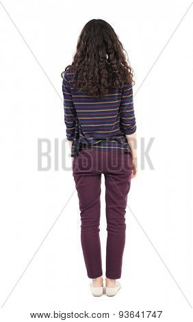 back view of standing young beautiful  woman.  girl  watching. Rear view people collection.  backside view of person.  Isolated over white background. African-American simplicity and looks ahead....