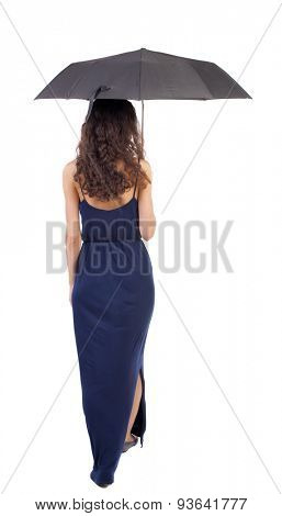 young woman in dress walking under an umbrella. Rear view people collection.  backside view of person.  Isolated over white background. Girl in a blue evening dress comes under the umbrella