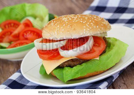 Cheeseburger and green salad, closeup
