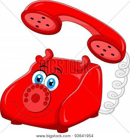 Cartoon Red Old Retro Rotary Telephone