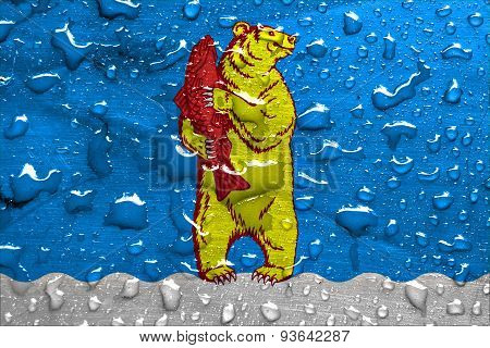 flag of Anadyr with rain drops