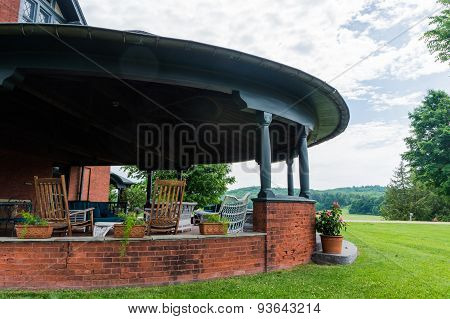 summer porch on historic estate