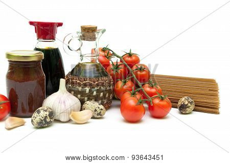 Cherry Tomatoes And Other Food On A White Background