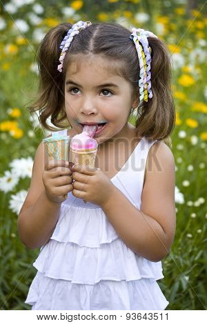 Girl With Two Ice Cream