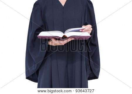 A lawyer reading law code on white background
