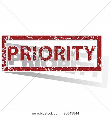 PRIORITY outlined stamp