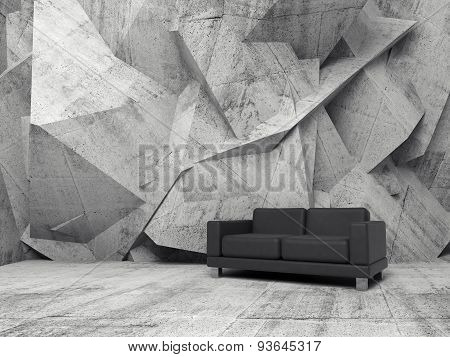 Abstract Interior, Concrete Room With Black Sofa