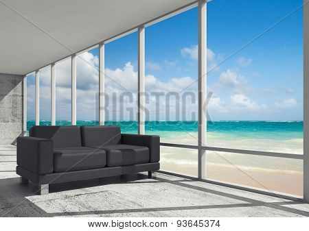 Abstract Interior, Office Room On A Sea Coast