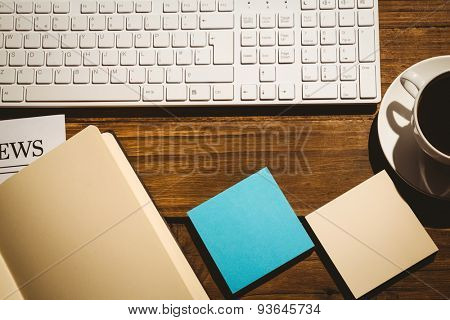 Overhead shot of post its and keyboard on a desk