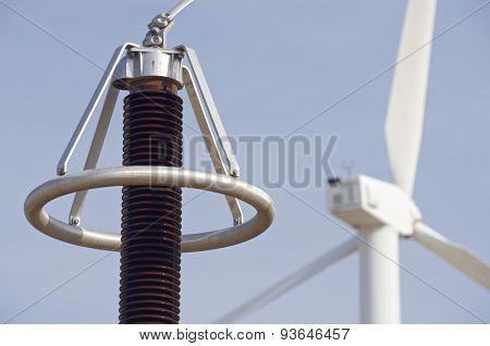 Windmill and electrical substation, Zaragoza province, Aragon, Spain.