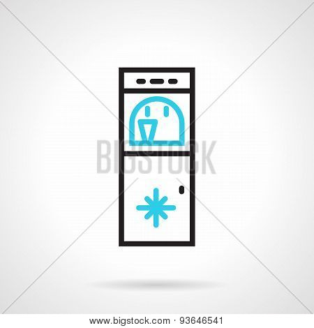 Water refrigerator black and blue line vector icon