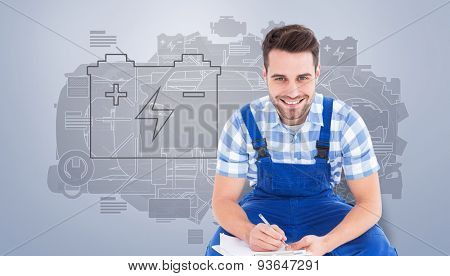 Happy repairman crouching while writing on clipboard against grey vignette
