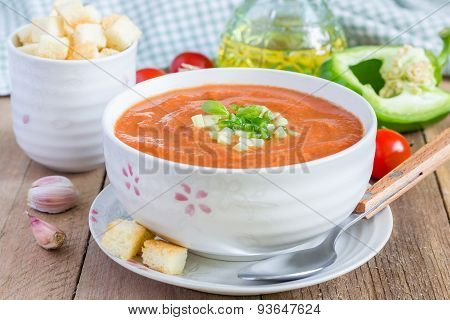 Cold Tomato Soup Gazpacho In A Bowl With Croutons
