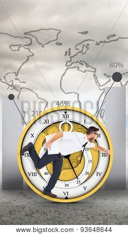 Geeky young businessman running late against global statistic on sky background