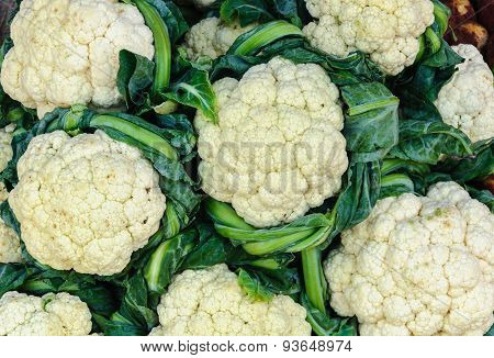 Close Up Group Of Cauliflower Sale In Market.