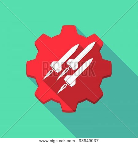 Long Shadow Gear Icon With Missiles
