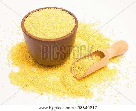 Millet Groats On The White Background