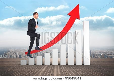 Businessman walking with his leg up against city on the horizon
