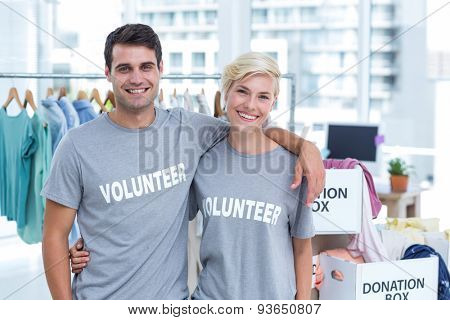 Portrait of a happy couple of volunteer