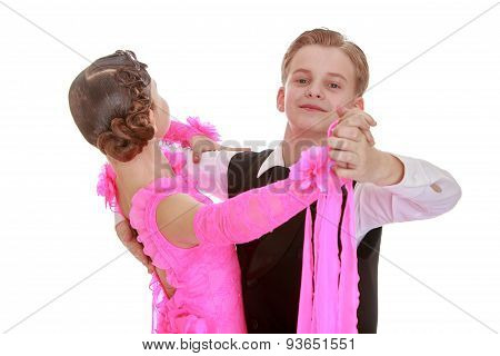 Youth dance couple in a beautiful tracksuits, close-up