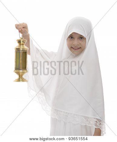 Happy Muslim Girl Celebrating Ramadan Holding Festive Lantern