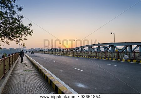 Ahmedabad, India - December 27, 2014: Sunrise At Ellis Bridge In Ahmedabad