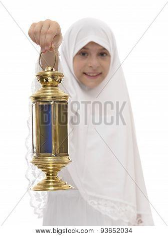 Happy Muslim Girl With Ramadan Lantern
