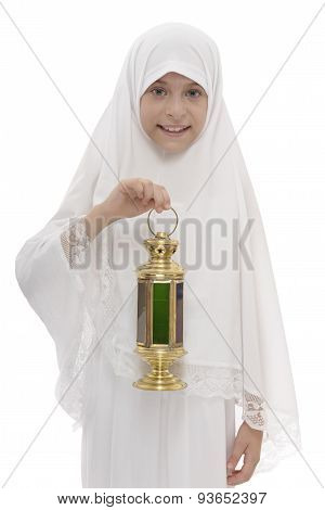 Happy Muslim Girl With Festive Ramadan Lantern