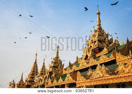 Roof Of Building In Front Of Shwedagon Pagoda