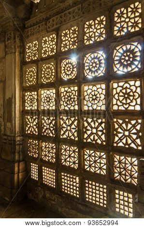 Ahmedabad, India - December 27, 2014: Carved Stone Grilles At Sarkhej Roza Mosque In Ahmedabad