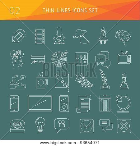 Thin lines web logo icon vector set