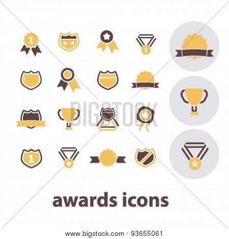 awards, achievement, victory, emblem, trophy icons, signs, illustrations set, vector