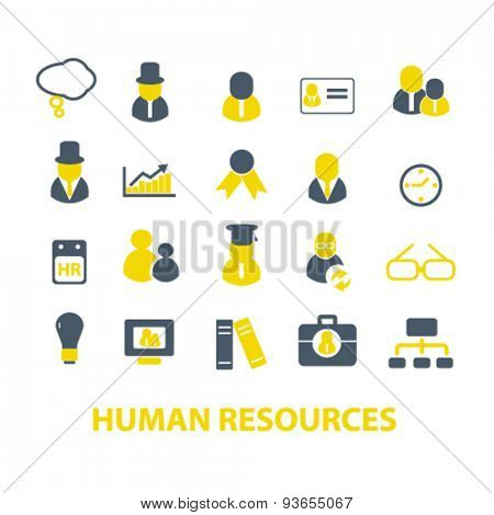 human resources, organization icons, signs, illustrations set, vector