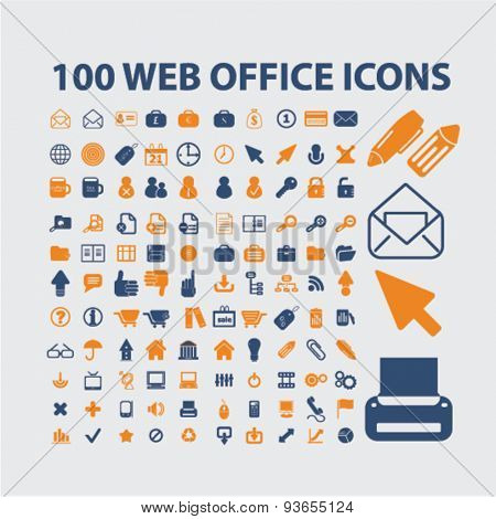 100 web internet office icons, signs, illustrations set, vector