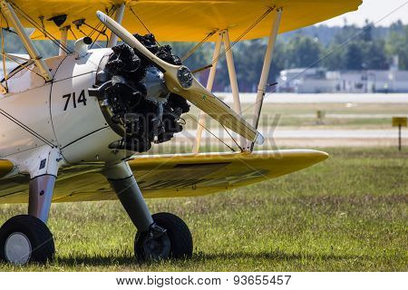 Poznan, Poland - June 14: Boeing Stearman 1930S Us Training Aircraft During Aerofestival 2015 Event